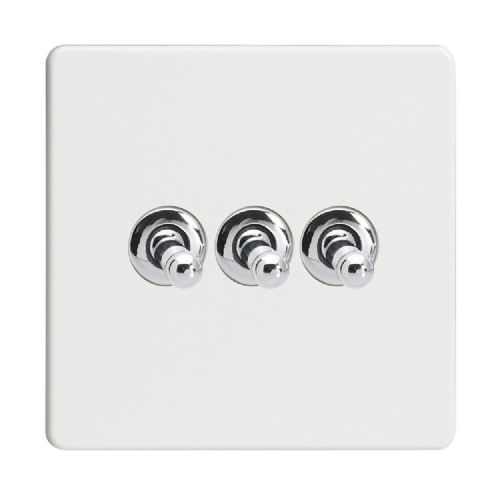 Varilight XDQT3S Screwless Premium White 3 Gang 10A 1 or 2 Way Toggle Light Switch